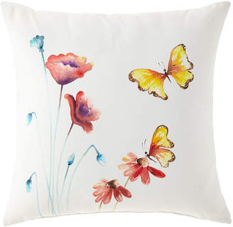 "Eastern Accents Hand-Painted Butterfly Pillow, 22""Sq."