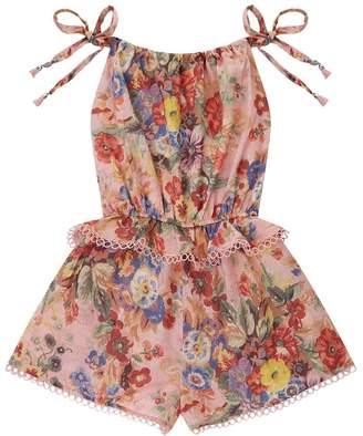 Zimmermann Lovelorn Floral Tie Playsuit