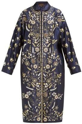 Biyan Risjavik Crystal Embellished Cotton Blend Coat - Womens - Navy Multi