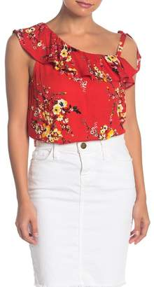 Love Stitch Printed Asymmetrical Ruffle Top