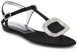Roger Vivier Thong Chips Crystal-Buckle Satin T-Strap Sandals