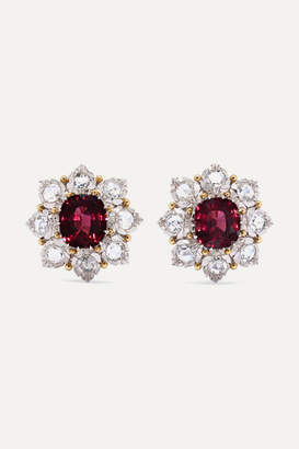 Buccellati 18-karat White And Yellow Gold, Garnet And Diamond Earrings - White gold