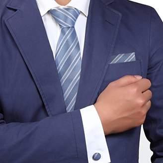 IDEA H5050 Blue Striped Fitness Great Presents Gift Silk Ties Cufflinks Hanky Set 3PT By Y&G