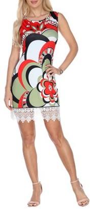White Mark Women's Flower Printed Crochet Trim Mini Dress