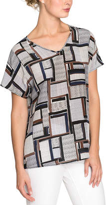 Nic+Zoe Falling Cube Silk-Blend T-Shirt