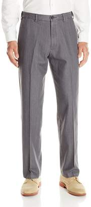 Haggar Men's Stretch Color Denim Expandable Waist Classic Fit Plain Front Pant