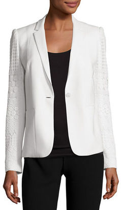 Elie Tahari Tova Crochet-Sleeve One-Button Blazer $498 thestylecure.com