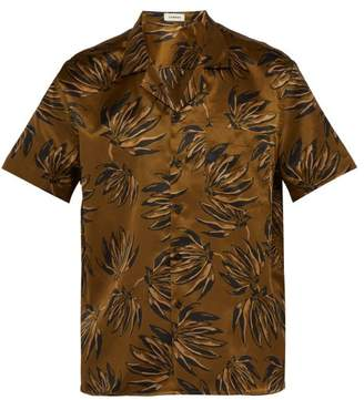 COMMAS Palm Print Silk Blend Shirt - Mens - Brown