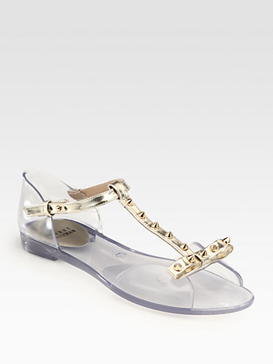 Stuart Weitzman Nifty Studded Metallic Leather Jelly Sandals