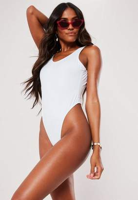 Missguided White Square Back High Leg Thong Swimsuit