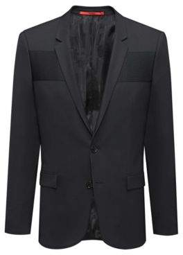 HUGO Boss Extra-slim-fit virgin-wool blazer ottoman paneling 42R Black