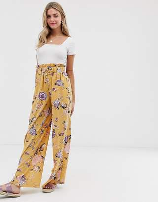 Wild Honey extreme wide leg pants with paper bag belted waist