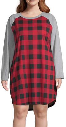 Buffalo David Bitton North Pole Trading Co. Plaid Family Womens-Plus Nightshirt Long Sleeve Crew Neck