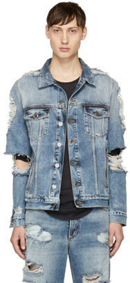 Balmain Blue Denim Destroy Jacket $880 thestylecure.com