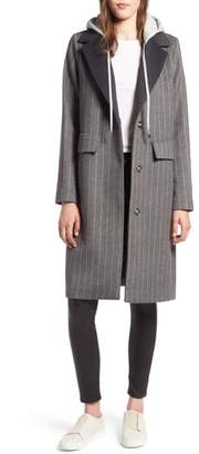 KENDALL + KYLIE Pinstripe Jacket with Removable Hood