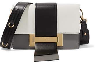 Ribbon Color-block Leather Shoulder Bag - Gray