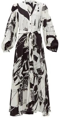 Loewe Aubrey Beardsley Print Crepe Shirtdress - Womens - Black White