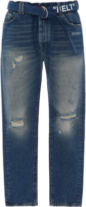 Off-White Belted Distressed Slim-Leg Jeans