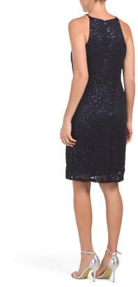 Sequin Lace Halter Dress
