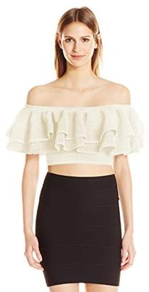 Keepsake The Label Women's Ruffle Off The Shoulder Stretch Knit Crop Top