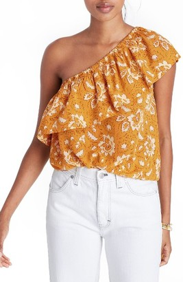 Women's Madewell Floral One-Shoulder Silk Tank $85 thestylecure.com
