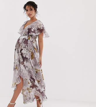 bf8a0a8d1cb Asos DESIGN Maternity cape back dipped hem maxi dress in patchwork floral