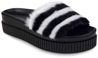 KENDALL + KYLIE Women's Isla Faux-Fur Platform Slide Sandals