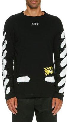 Off-White Spray-Paint Logo Long-Sleeve T-Shirt, Black/White $360 thestylecure.com