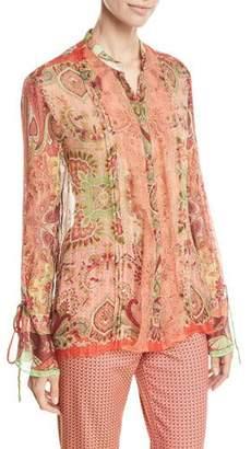 Etro Lace-Trim Paisley-Print Chiffon Button-Front Blouse