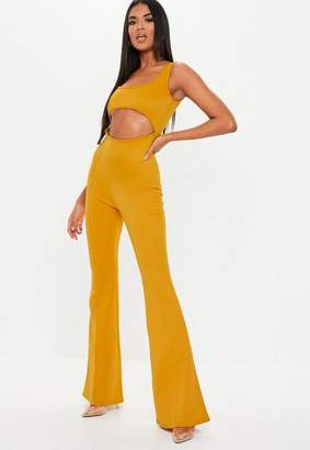 Missguided Mustard Cut Out Square Neck Flared Romper