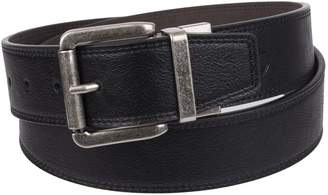 Weatherproof Men's Reversible Casual Belt with Rotated Buckle, Brown Black/Silver Buckle