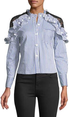 Haute Rogue Crochet Lace-Shoulder Striped Top