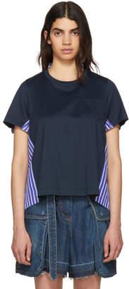 Sacai Navy Jersey and Striped Poplin T-Shirt