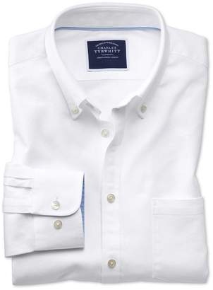 Charles Tyrwhitt Slim Fit White Washed Oxford Cotton Casual Shirt Single Cuff Size Medium