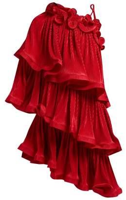 Romance Was Born Bloom Asymmetric Tiered Plisse Mini Dress - Womens - Dark Red