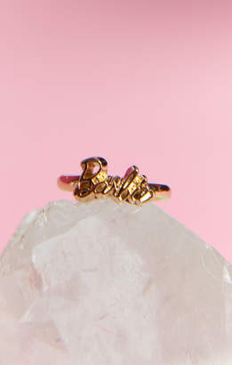 Show Me Your Mumu Barbie Script Ring ~ Gold