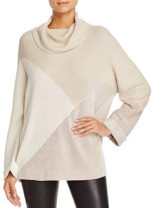 Nic+Zoe Angled Color Block Turtleneck Sweater