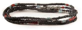 M. Cohen Stacked Mini Black Bead Necklace/Wrap Bracelet