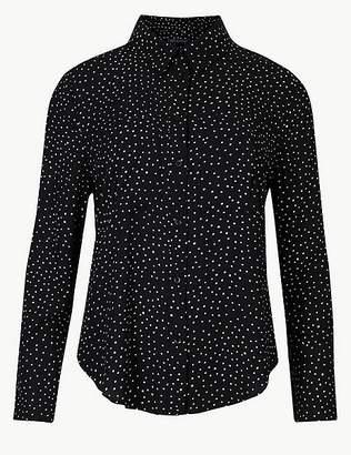 Marks and Spencer PETITE Polka Dot Long Sleeve Shirt