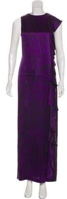 Thomas Wylde Silk Printed Maxi Dress Purple Silk Printed Maxi Dress
