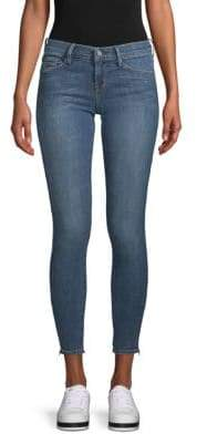 Zip-Cuff Skinny Ankle Jeans
