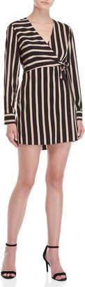 Lush Shadow Striped Wrap Dress