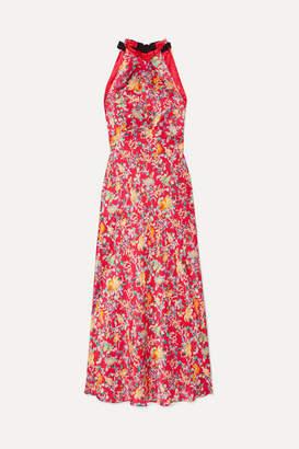 Saloni Michelle Floral-print Silk-satin Halterneck Midi Dress - Red