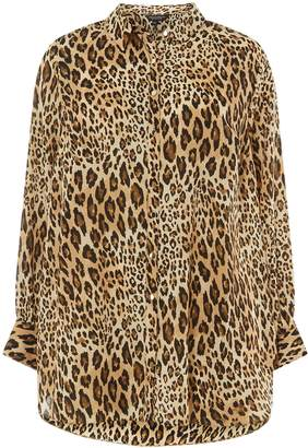 Dorothy Perkins Womens **Dp Curve Multi Colour Leopard Print Collared Shirt