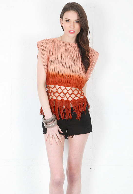 Torn By Ronny Kobo Monica Ombre Fringe T-Shirt in Brown