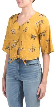Juniors Knot Front Zipper Dot Floral Woven Top