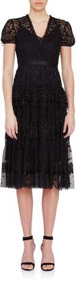 Needle & Thread Short Sleeve Layered Lace Midi Dress in Black