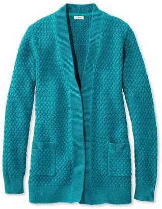 L.L. Bean L.L.Bean Cotton Basket-Weave Sweater, Open Cardigan