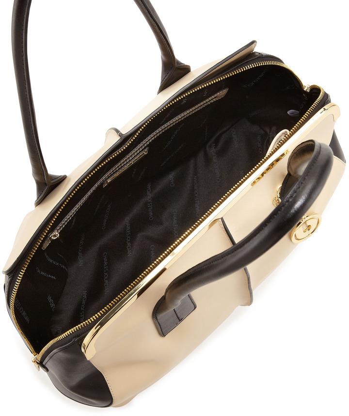 Charles Jourdan Baxter Seam-Detail Satchel Bag, Beige/Black