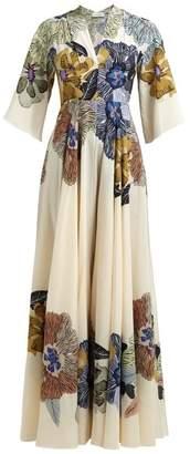 Etro Envision Floral Print Silk Crepe De Chine Gown - Womens - Cream Multi